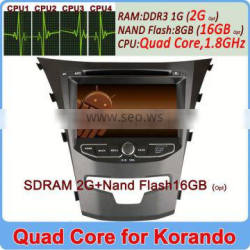 Wholesale Quad Core Cortex A9 Pure Andriod 4.4 car central multimedia for ssangyong korando 2014 2G DDR3 16GB Flash