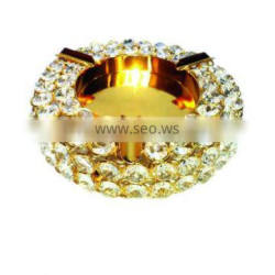 Gold Crystal decoration ROUND ashtray for Office Hotel gift and home decor