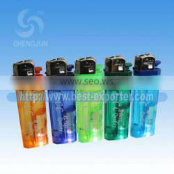 Big Sale!! Yemen&Syria Market Electronic Refillable Gas Lighter With Shining Lights Five Transparent Colors