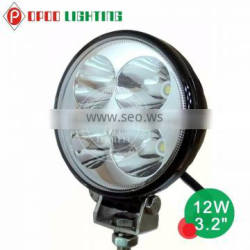 Offroad 4x4 car accessories 12w led work light, round 12v waterproof 12w led work light