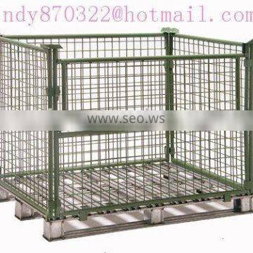 wire mesh pallet container(collapsible stroage cage)