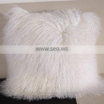 Factory wholesale customized size and color real mongolian lamb fur pillow