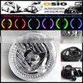 7 Round BMC Semi Sealed Beam with LED Halo Ring Auto Halogen sealed beam H4 or HID H4 Xenon Bulb
