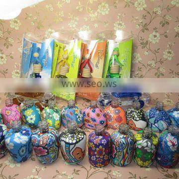 Shenzhen Lihome hot sale very cheap empty car perfume glass bottle with flower decial