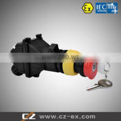 ATEX & IECEX certified Explosion proof Emergency Stop push button for panel mounting type 2/4 poles