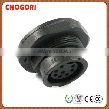 Middle 8 pin waterproof panel mount, Chogori high quality female connector, IP67 waterproof connector