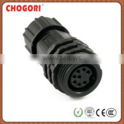 Middle 8pin IP waterproof connector, Chogori high quality cable connector, nylon led connector