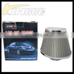 High Performance Gray Universal Car 76MM Stainless Steel Air Filter