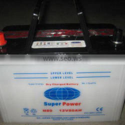 80D26L dry charged auto battery