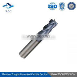 Tungsten carbide 4f end mill with the HSS shank
