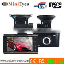 Factory price 2.7inc NTK96650 170 angle Two cards with GPS G-sensor SOS function high definition video recorder