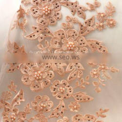 Guangzhou 3d Pink Applique embroidery fabric for dress