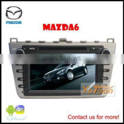 Car DVD GPS Player for Mazda 6, 7 inch PIP/12 languages USB/SD/BT/IPOD/AV-in/AUX/ back view/car logo/wallpaper