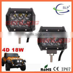 4inch high quality waterproof led light 18w 4D led work light spot/flood for Offroading Vehicles car jeep suv