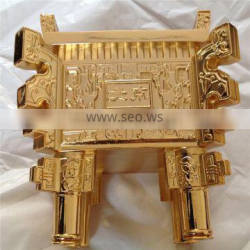 gold palting factory big metal ancient Tripod in shinny mirror gold luxury finished , provide gold plating process