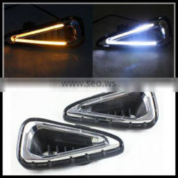 Dual color White Amber LED DRL daytime running light with turn signal light for Toyota Camry